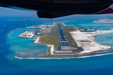 Aerial view of the main airport, Malé, Maldives, INndian Ocean
