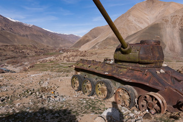 Abandoned Russian tank in the Panjshir Valley, Afghanistan