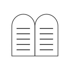 Tablets of the Law icon in black flat outline design