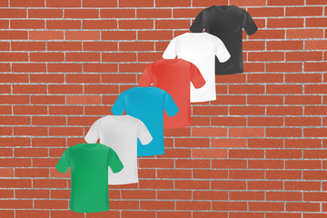 vector multicolored mens t-shirt template on red brick wall background with grunge texture. mocap for print and clothing design
