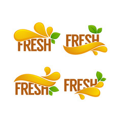 vector collection of bright and shine logo, stickers, emblems and banners for orange fresh juice