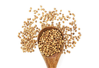 Coriander seeds in wooden spoon isolated on white background, top view.