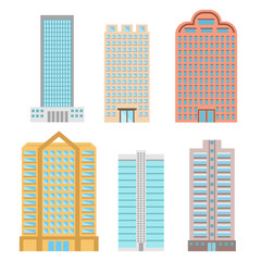 Buildings and modern city houses flat vector icons, stock vector illustration