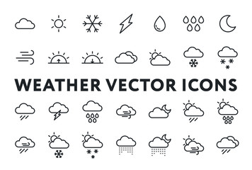 Weather Forecast Meteorology Icons Set. Sun, Snow, Cloud, Rain, Storm, Sunrise, Dawn, Moon, Wind. Minimal Flat Line Outline Stroke Pictograms.