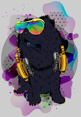 Stylish dog. Print with chow chow of yourcool T-shirt. Vector. Fashion cool poster.