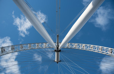 Architectural details of the metallic structure of a ferris wheel.