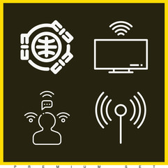 Set of 4 wifi outline icons