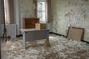 Abandoned office with desk