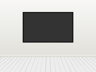 Illustration of Led Television set on  Wall with Floor a Front View.