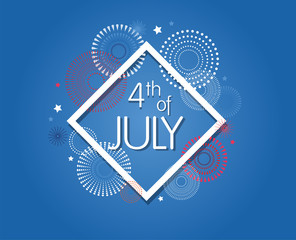 Happy USA Independence Day 4 th July. Greeting card and poster Design. number 4 on firework night background