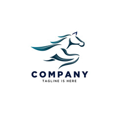 horse running art logo