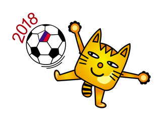 A cartoon cat juggles with a soccer ball. Cat soccer player. Humor, funny drawing. Vector graphics