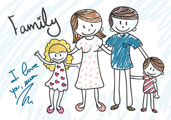 Cartoon draw of family
