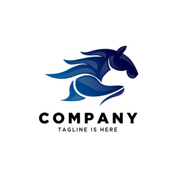 blue abstract running fast horse speed logo