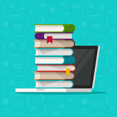 Books stack on laptop computer vector illustration, flat cartoon pc with books, concept of ebook library, digital online study, internet electronic education icon isolated