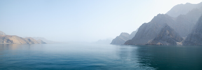 Wall Murals Green blue Sea tropical landscape with mountains and fjords, Oman
