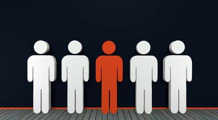 Konzept: aus der Masse absetzen mit Personen, 3d rendering