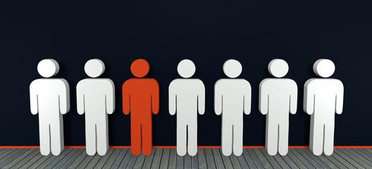 Konzept: aus der Masse absetzen mit Personengruppe, 3d rendering