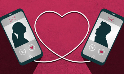 Illustration of a dating plattform app and the connection of a man and a woman