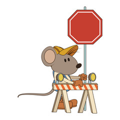 Worker mouse with construction barrier vector illustration graphic design