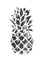Stamped Pineapple. Black and White Shape.