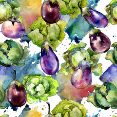 Violet eggplant vegetable in a watercolor style pattern. Full name of the vegetable: eggplant. Aquarelle wild vegetable for background, texture, wrapper pattern or menu.