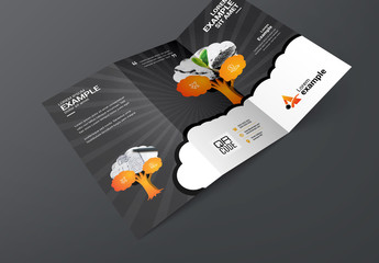 Trifold Brochure Layout with Tree Illustration