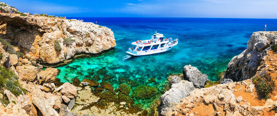 Deurstickers Cyprus Amazing sea and rocks formation in Cyprus. Boat trips in Natural park Cape Greko