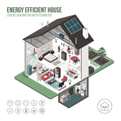 Contemporary energy efficient house interiors