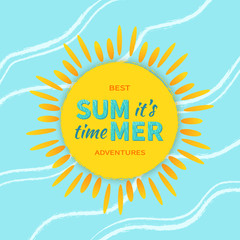 It's Summer time! Sun with rays and sign. Summer logo vector illustration.