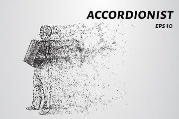 Accordion player from particles. The harmonist consists of dots and circles.