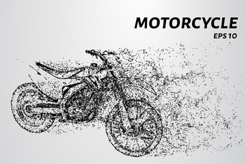 Motorcycle from of particles. With a motorcycle the wind blows the particles.