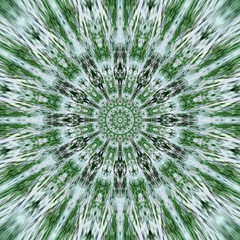Round pattern from leaf or grass effect green arabesque mandala