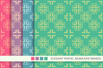 Seamless pastel background set Cross Geometry Frame Line