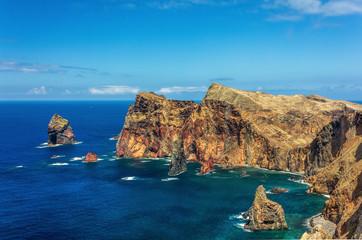 Cliffs and sea at ponta de São Lourenço, in Madeira island, Portugal.