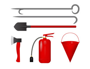 Set for fire fighting. Vector illustration. Fire extinguisher, bucket, axe shovel scrap