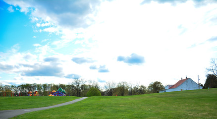 A wonderful view of beautiful Spring seasons in the playground area