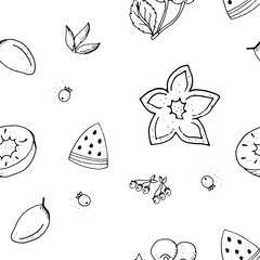 Fruit seamless pattern.Black and white contour monochrome.