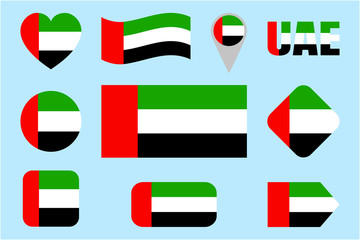 UAE flag collection. Vector The United Arab Emirates flags set. Flat isolated icons. Traditional colors. Web, sports pages, national, travel, geographic, patriotic, cartographic design elements