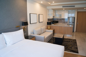 Comfortable studio apartment design. Hotel room interior with bedroom area, living space and kitchen corner. Apartment and interior concept