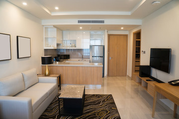 Modern interior design of studio apartment. Hotel room with living space and kitchen corner counter with appliances. Apartment concept