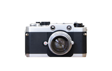 vintage camera on isolated white background.Old rangefinder retro camera vintage style.silver color classic camera with clipping path