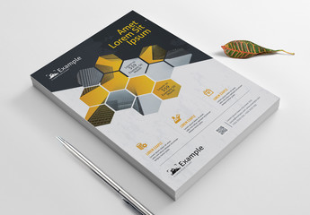 Flyer Layout with Hexagonal Designs