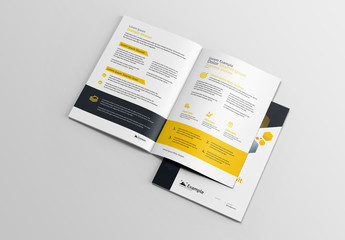 Brochure Layout with Hexagonal Designs