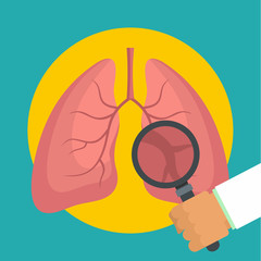 Examination of lungs icon. Flat illustration of examination of lungs vector icon for web design