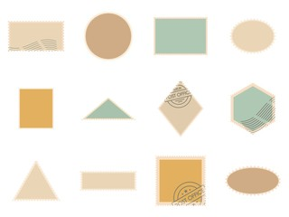 Postage stamp icons set. Flat illustration of 12 postage stamp vector icons isolated on white