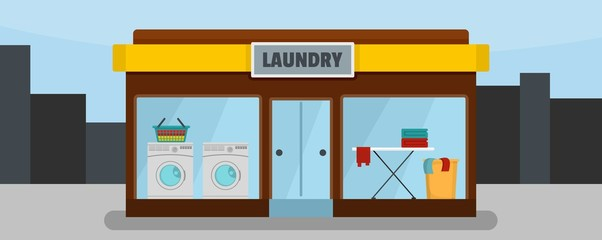 Laundry building banner horizontal. Flat illustration of vector laundry building banner horizontal for web design