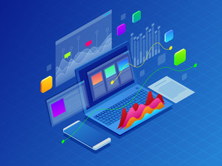 Concept business strategy. Illustration of data financial graphs or diagrams, information data statistic. Laptop and infographics isometric vector illustration on ultraviolet background