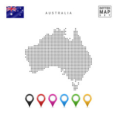Vector Dotted Map of Australia. Simple Silhouette of Australia. National Flag of Australia. Multicolored Map Markers Set