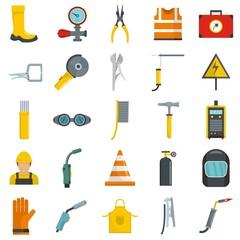 Welder equipment icons set. Flat illustration of 25 welder equipment cargo vector icons isolated on white